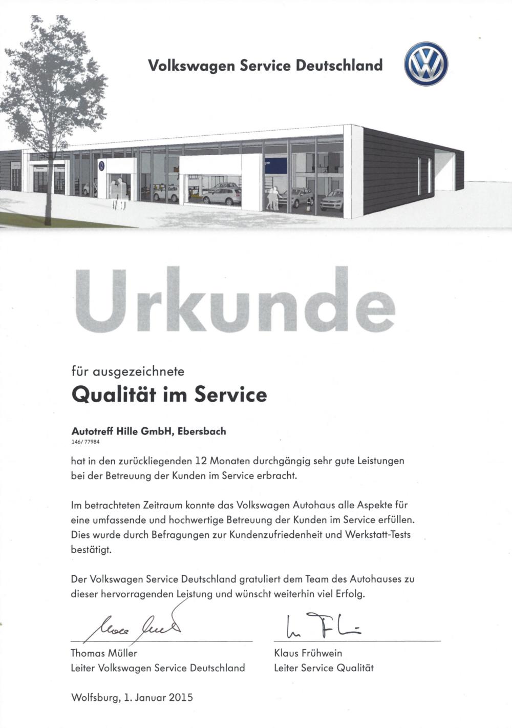Urkunde für ausgezeichnete Qualität im Service 2015