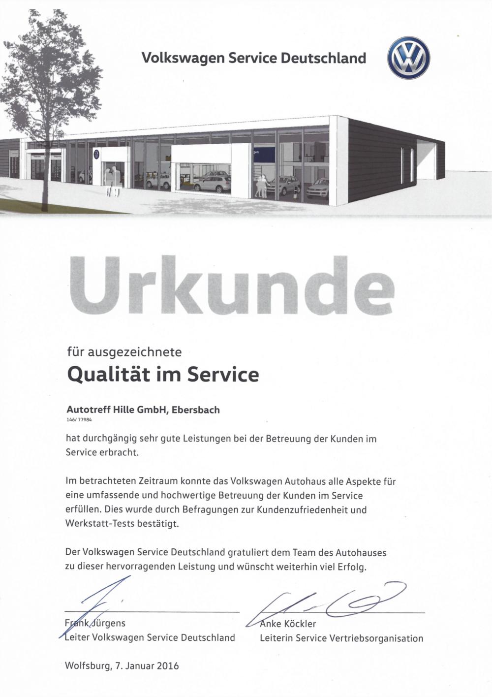Urkunde für ausgezeichnete Qualität im Service 2016