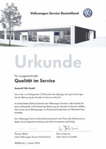 Urkunde für ausgezeichnete Qualität im Service 2014